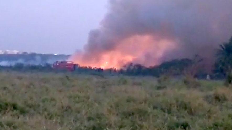 Toxic Lake Bursts Into Flames