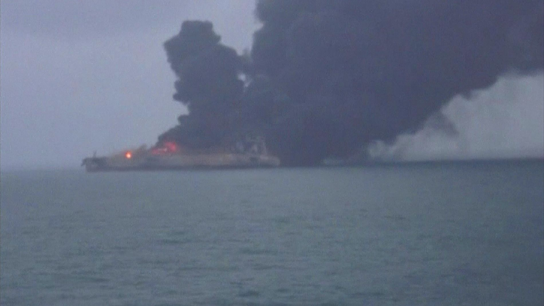 An Iranian oil tanker is in danger of exploding and sinking after colliding with a Chinese ...