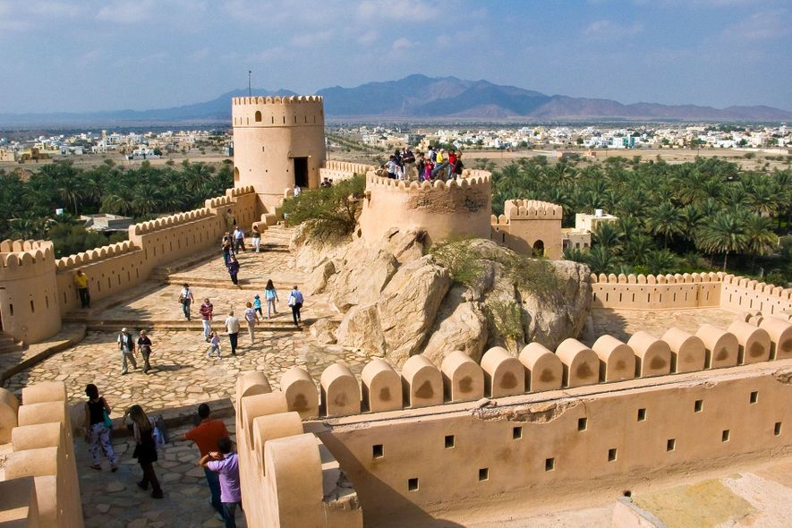 Nakhal Fort in the Al Batinah Region offers spectacular mountain views from its hilltop setting.
