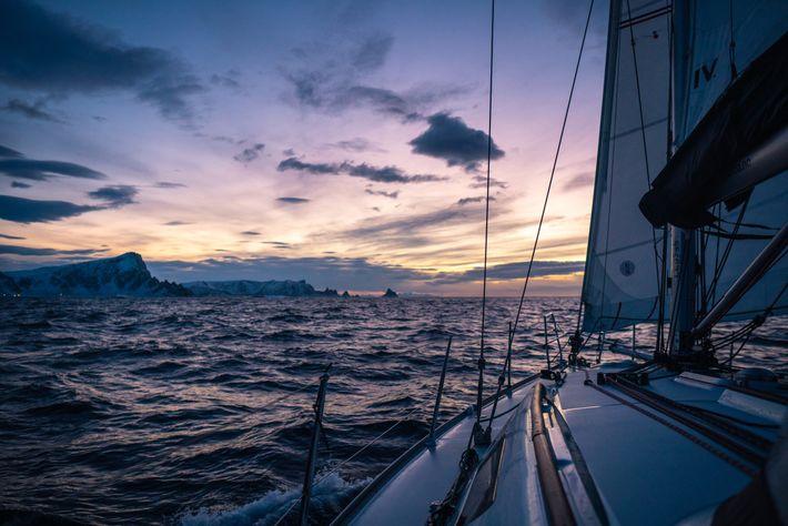 Approaching Andøya at sunset.