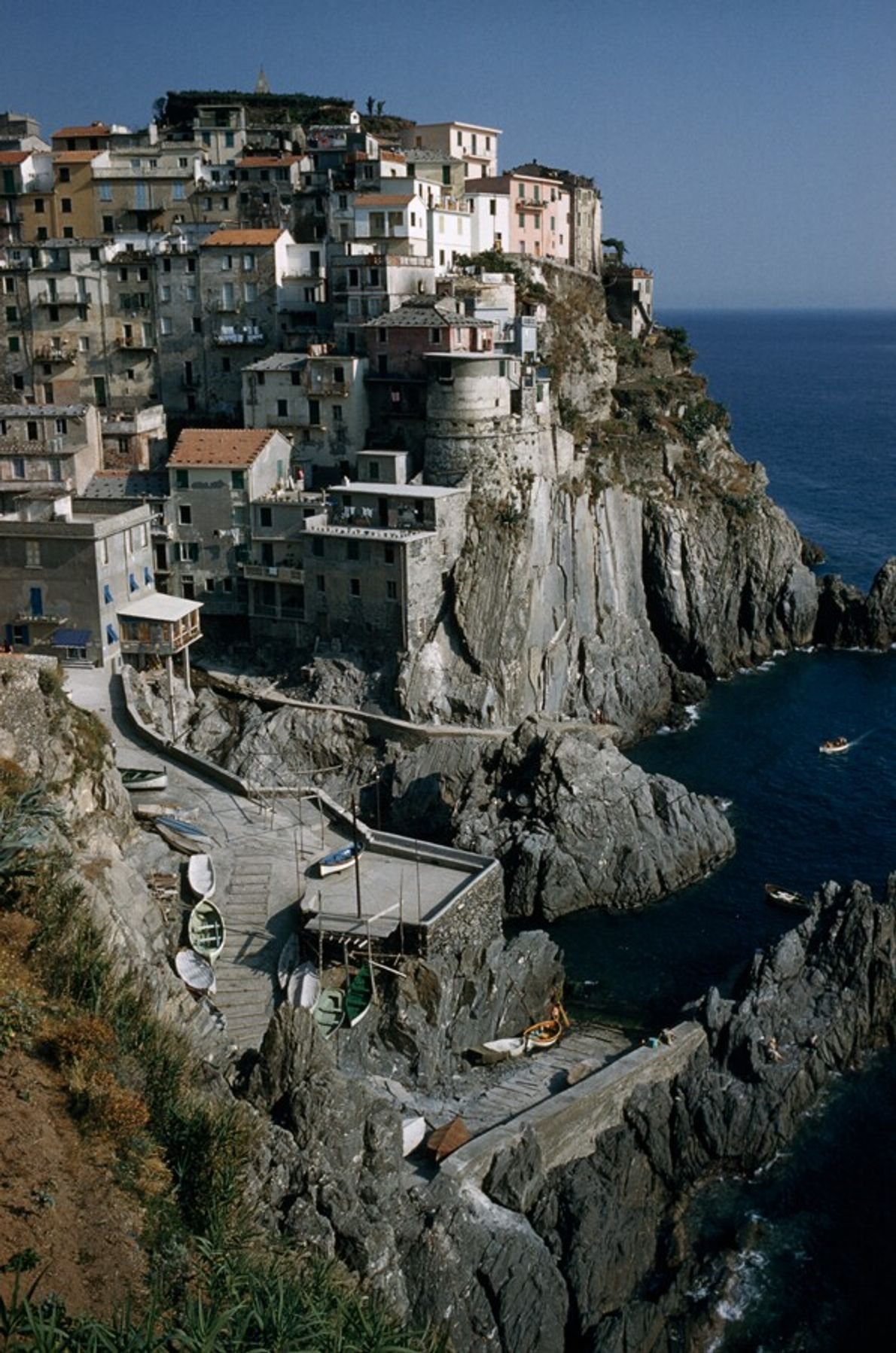 A view of Manarola, one of the 'Cinque Terra,' in 1963. Traditionally based around fishing, the ...