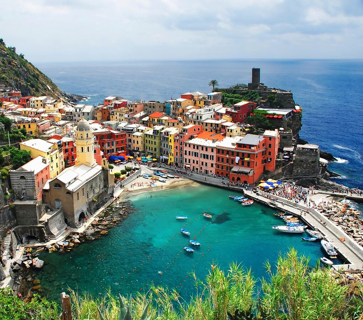 Vernazza is another of the Cinque Terra, protected by a sheltered bay and a robust harbour ...