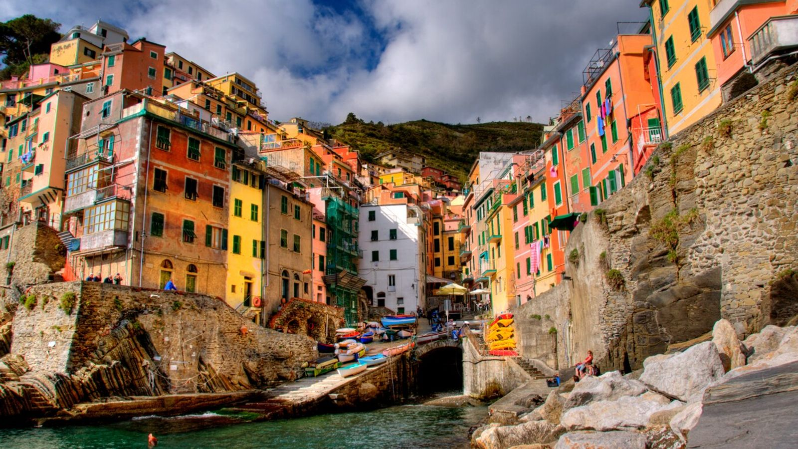 Riomaggiore, one of the festively-painted Cinque Terre of northwestern Italy.