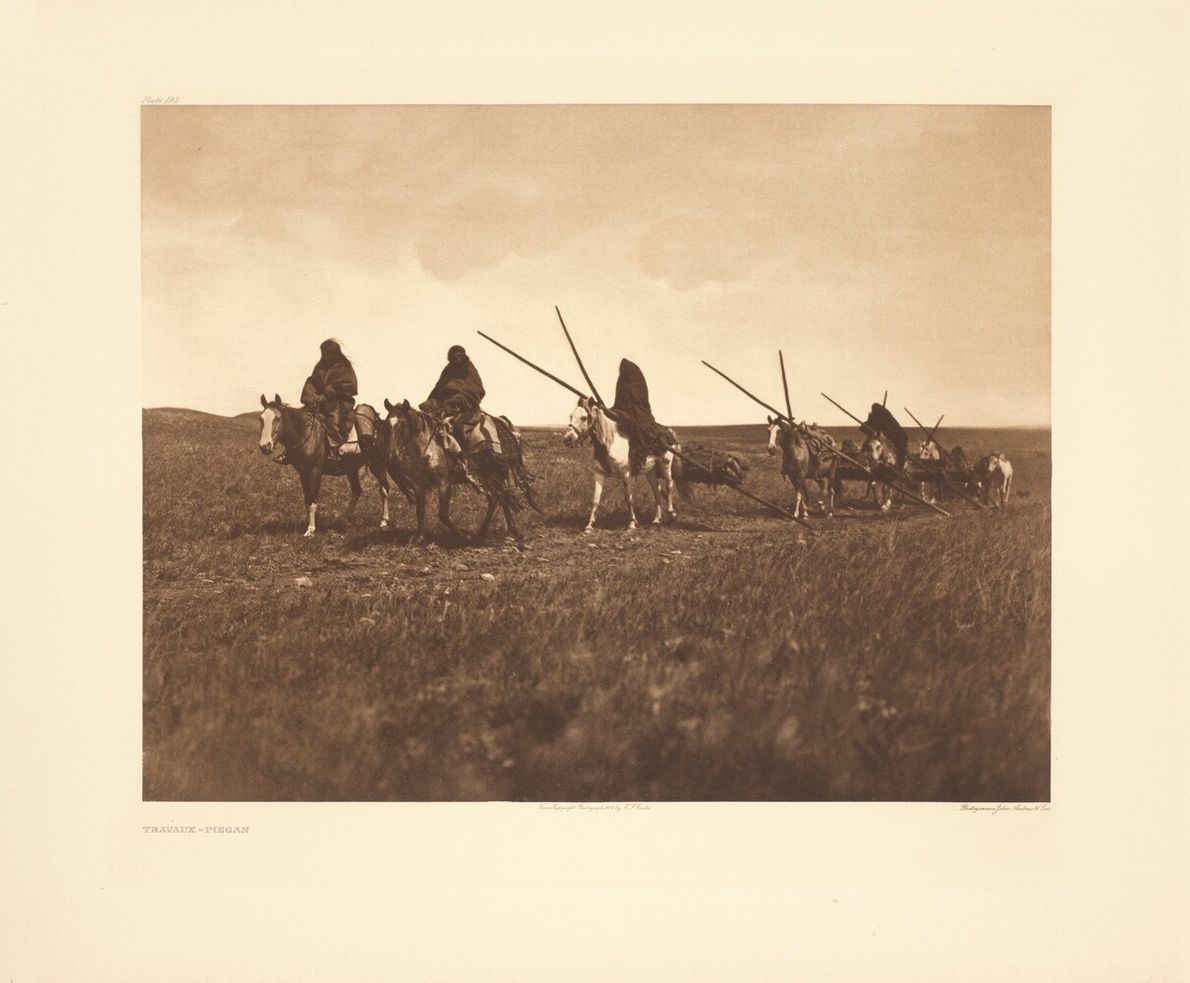 Montana, late 19th Century: Piegan tribespeople haul sacred buffalo tongues on a travois sled. Great Plains people ...