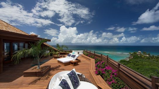 Master bedroom terrace at the Great House, Necker Island.