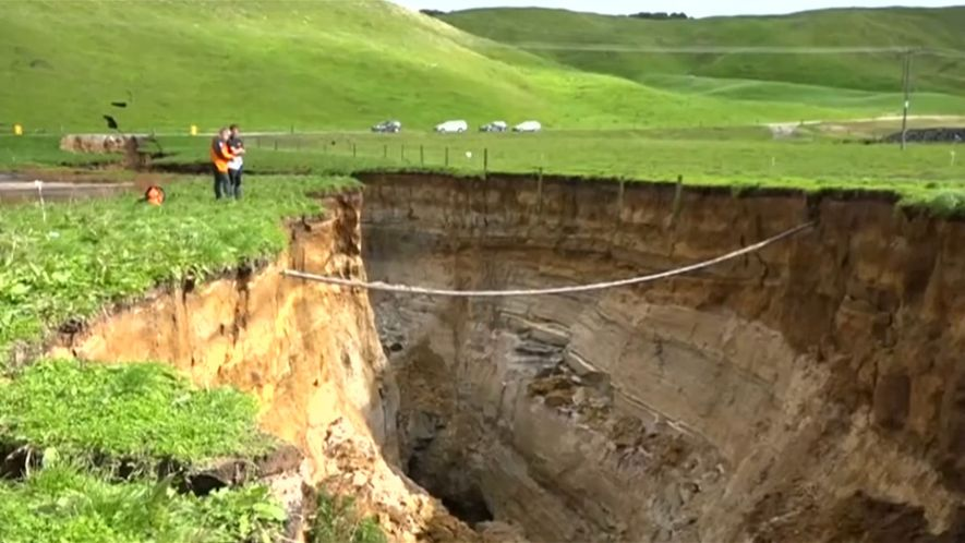 See a Gigantic Sinkhole on New Zealand's North Island
