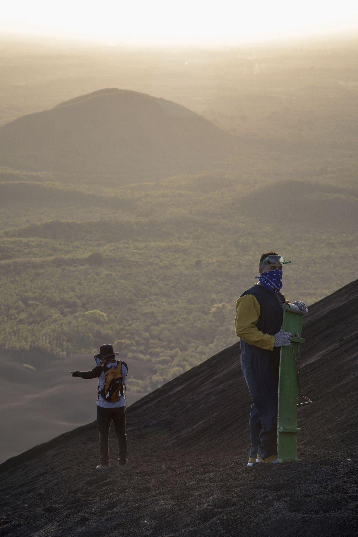 Sandboarders on the slopes of Cerro Negro