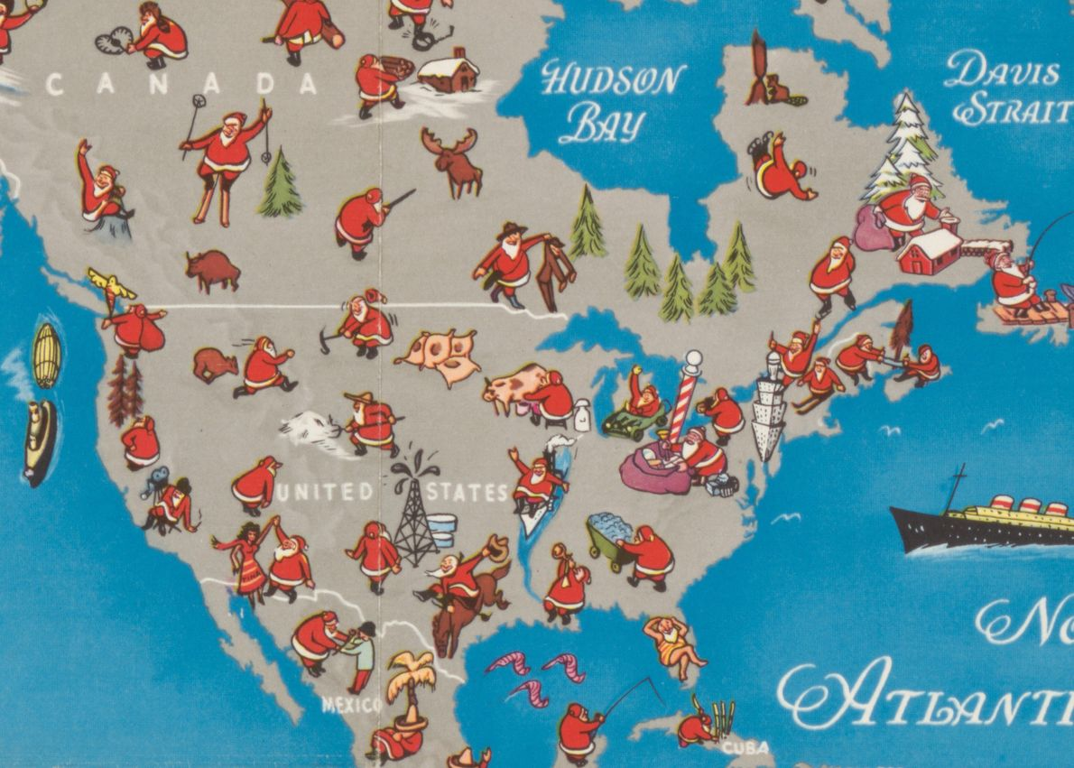 Santa hunts a moose in Canada, goes fishing in Mexico, and sunbathes in Florida.