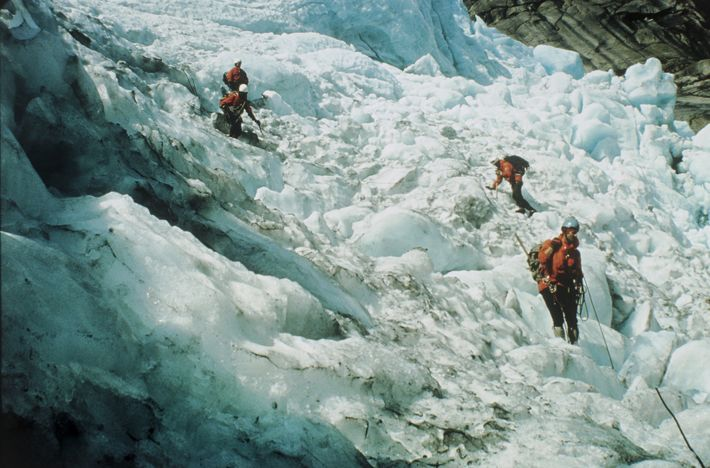 Sir Ranulph Fiennes' team conducts glacier research in Norway in 1967.