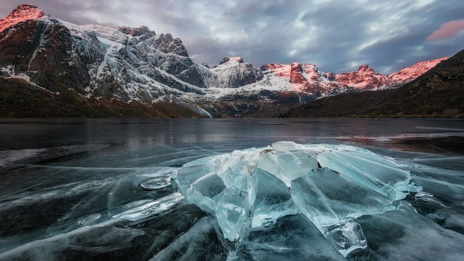 """Storvatnet Lake, Lofoten. Stian Klo: """"This was captured on a cold February morning a few years ..."""