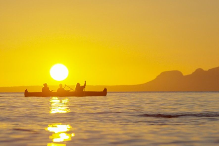Canoeing in the sunset.