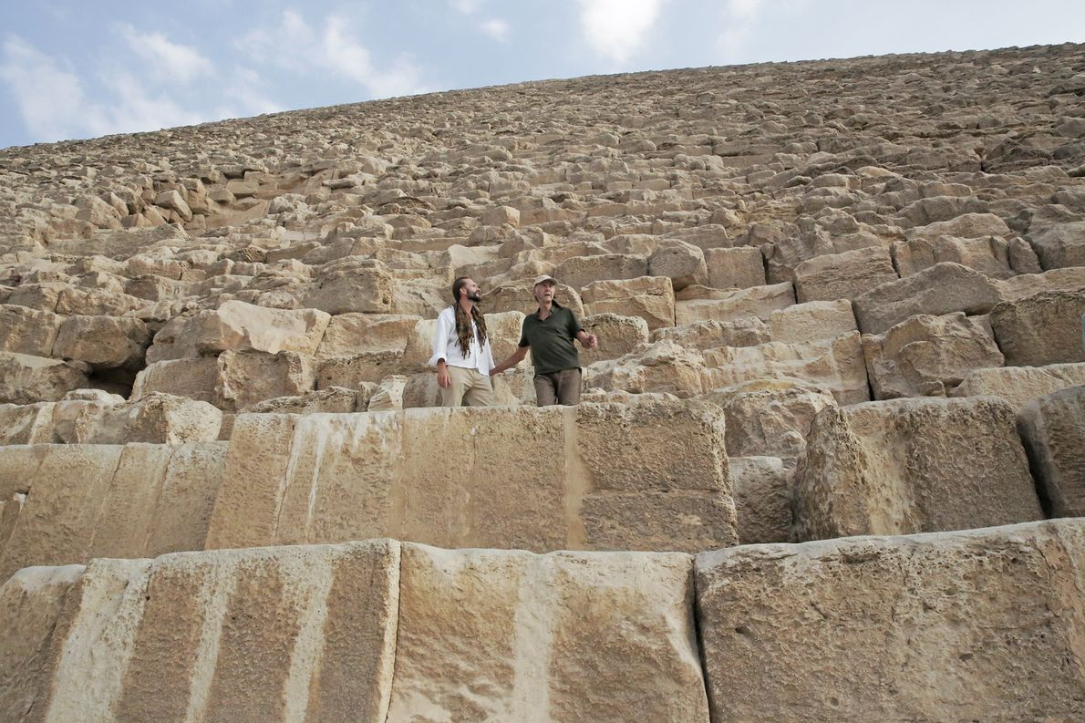 Exploring the Pyramids of Giza. The Great Pyramid is the only one of the seven wonders ...