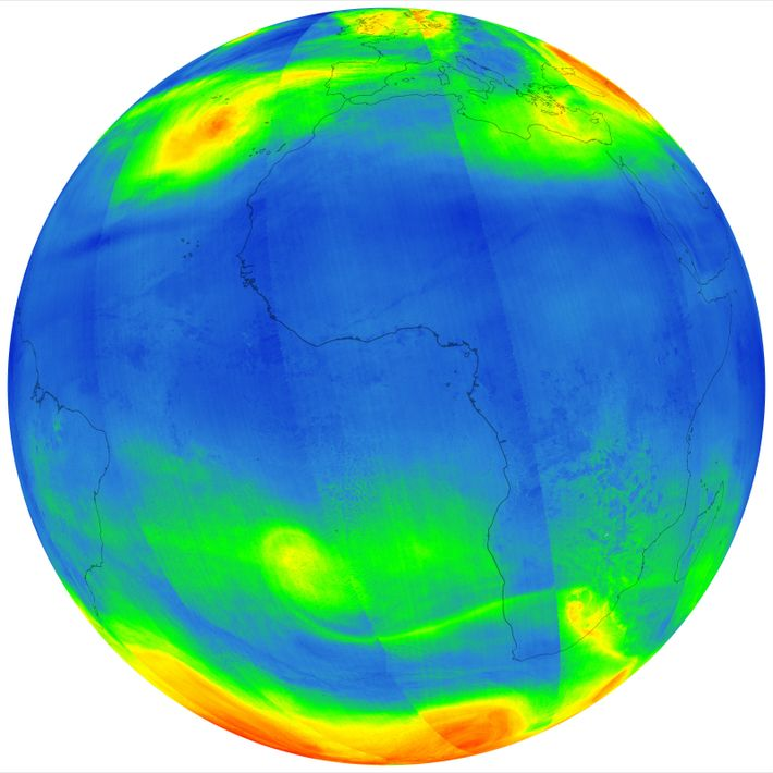 The image reveals ozone distribution around the world. While ozone in the stratosphere is a good ...