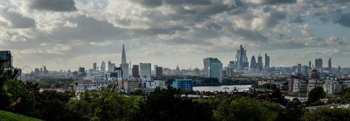 London from Greenwich Park, with the London Eye and the Shard to the left, St Paul's ...