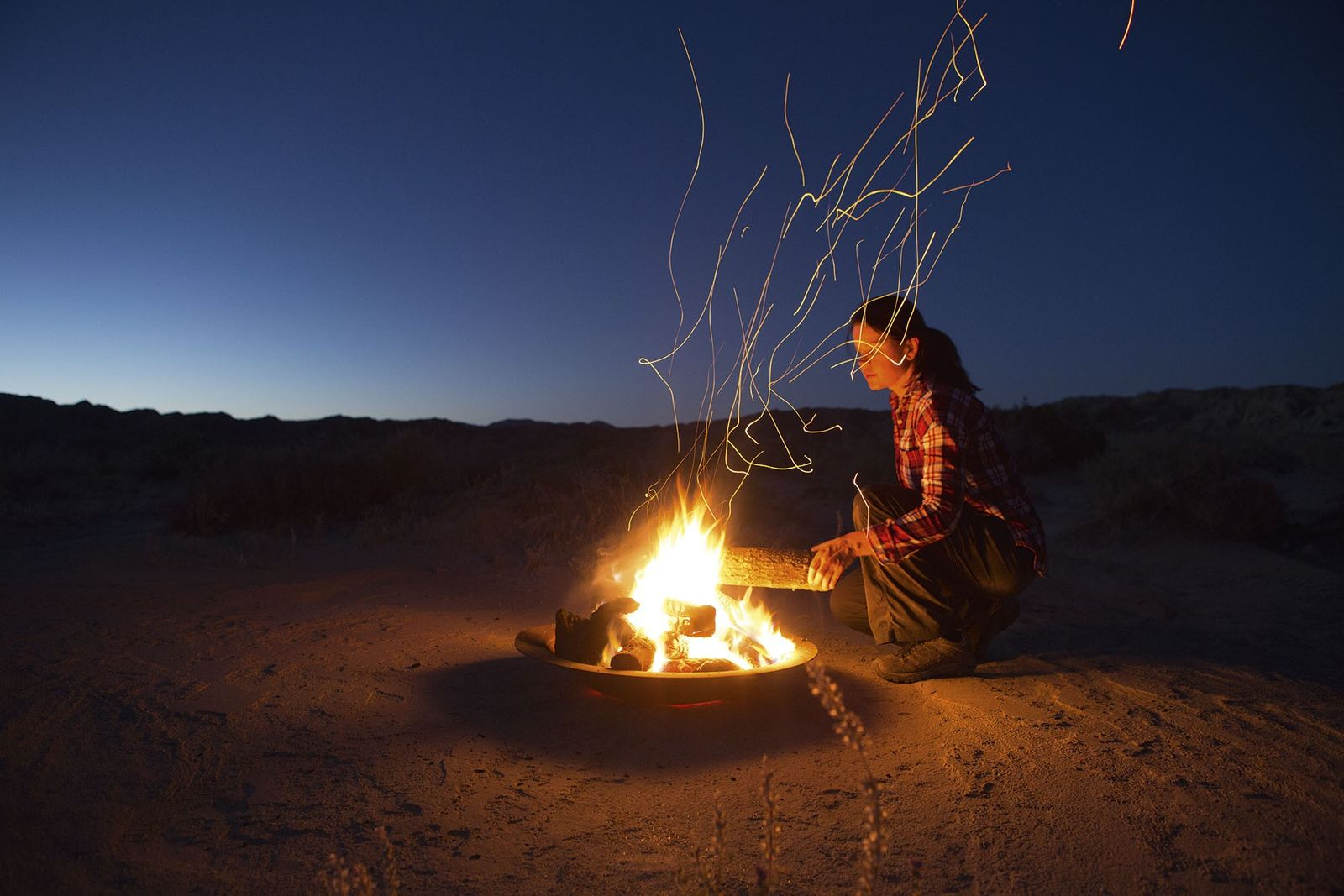 Campfire in California desert