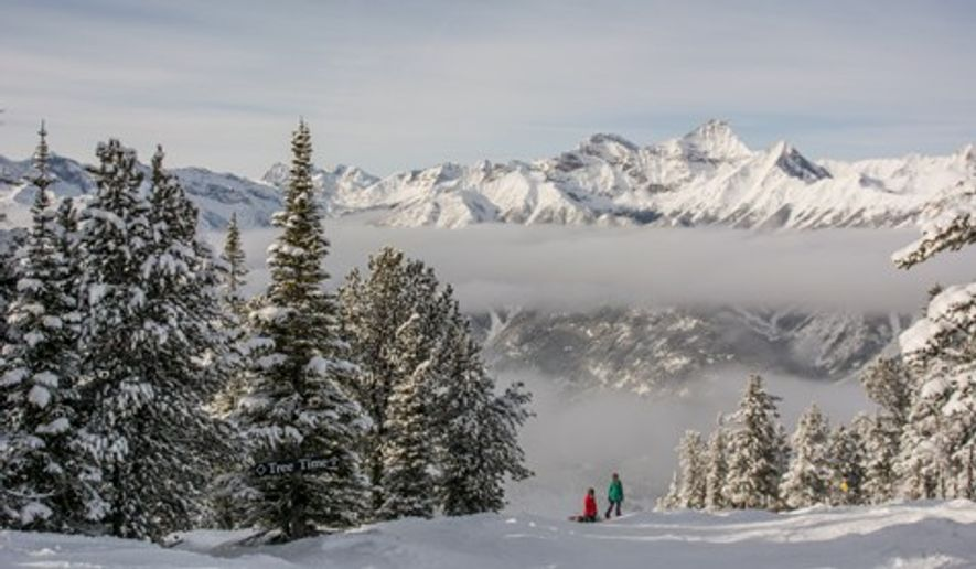 A couple of snowboarders on a run at Panorama Mountain Resort. Image: Destination BC/Kari Medig