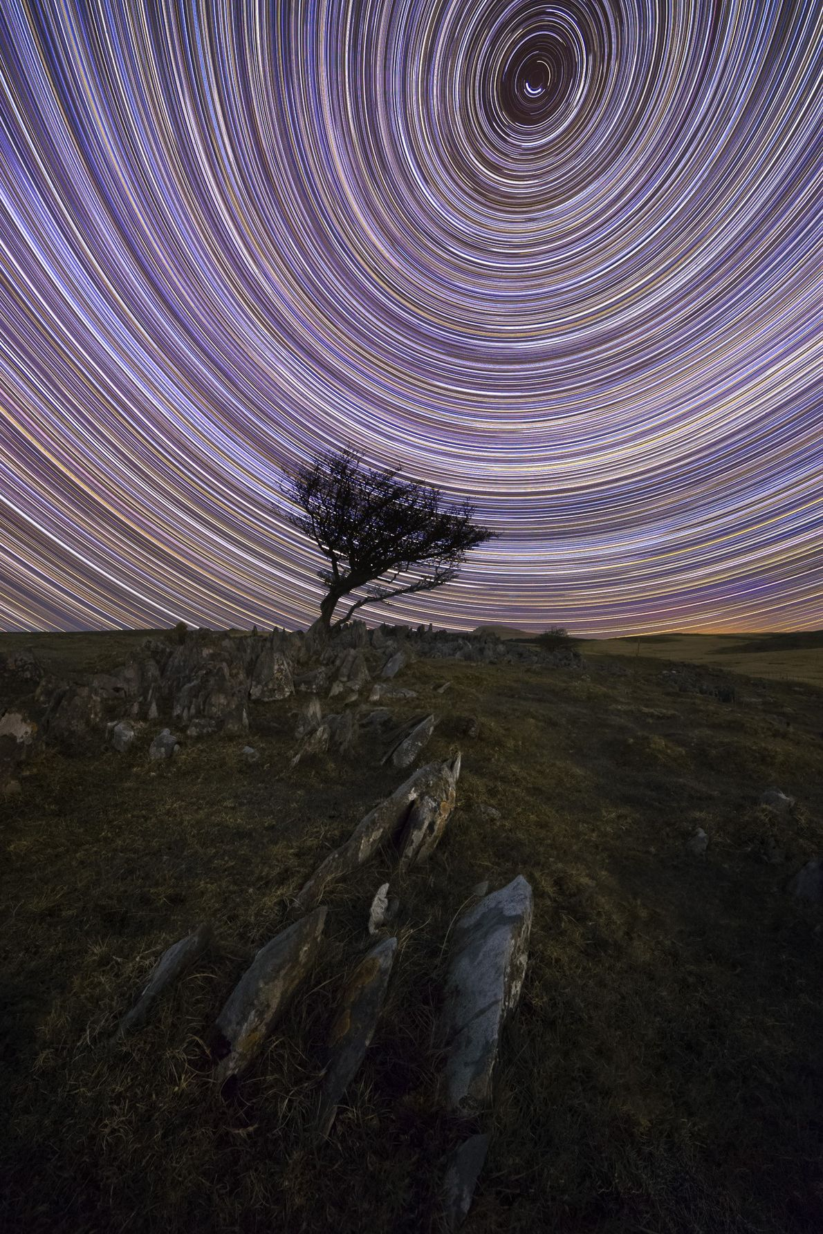 "Alyn Wallace: ""This photograph has a total exposure time of 8-hours and depicts how the stars ..."