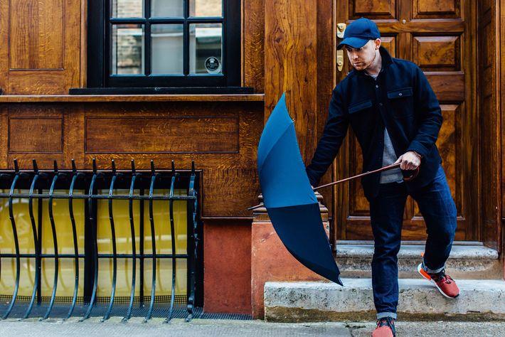 Jamie Milestone with umbrella