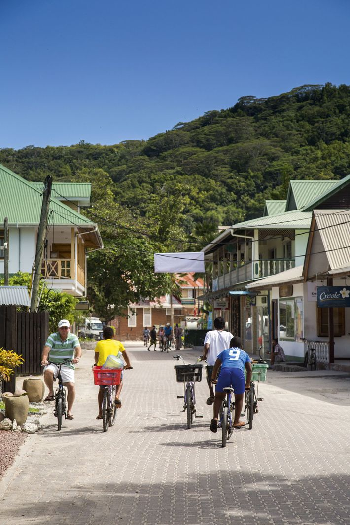 Cycling on the streets of the Seychelles island of La Digue