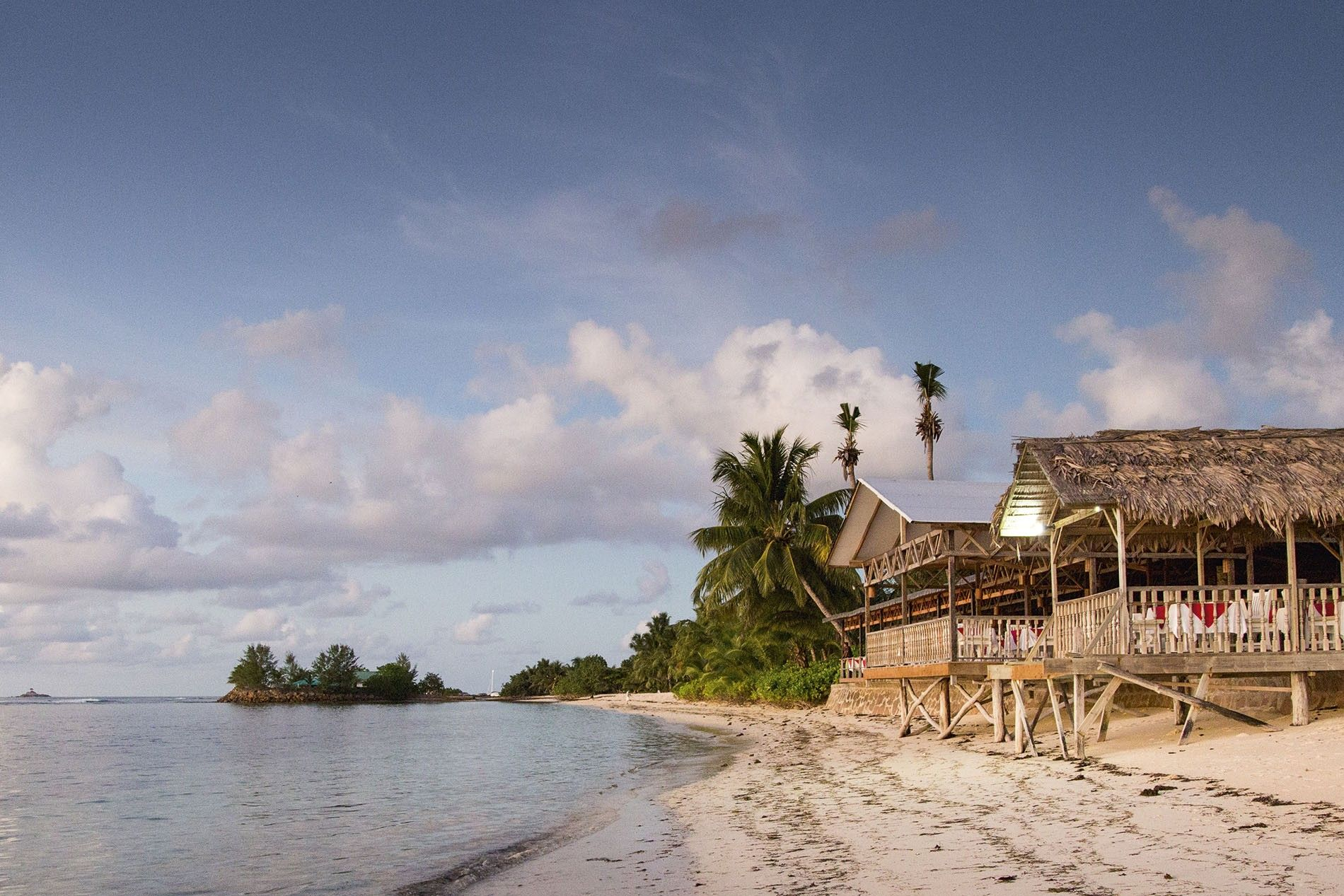 Beach huts on the Seychelles island of La Digue
