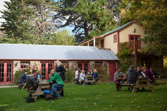 Visitors meet at the Cardrona Hotel, a historic inn and restaurant located along the Crown Range ...