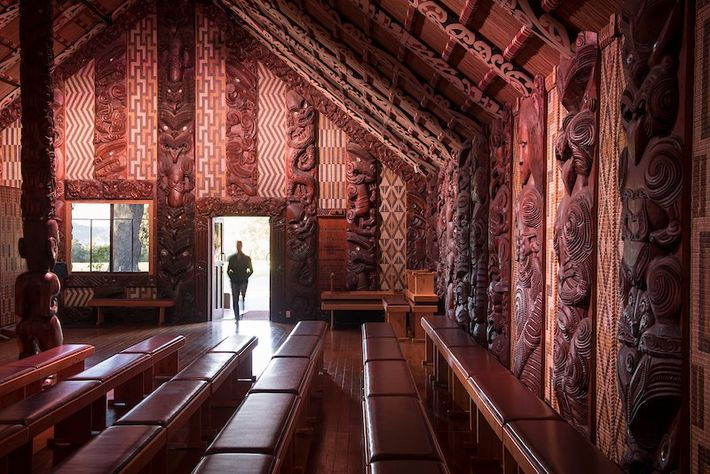 The Te Whare Rūnanga assembly house on North Island's Waitangi Treaty Grounds, whereMāori chiefs met British ...