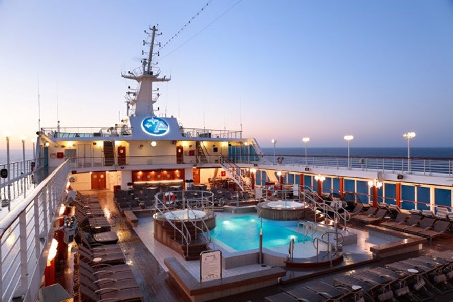 Pool deck at sunrise