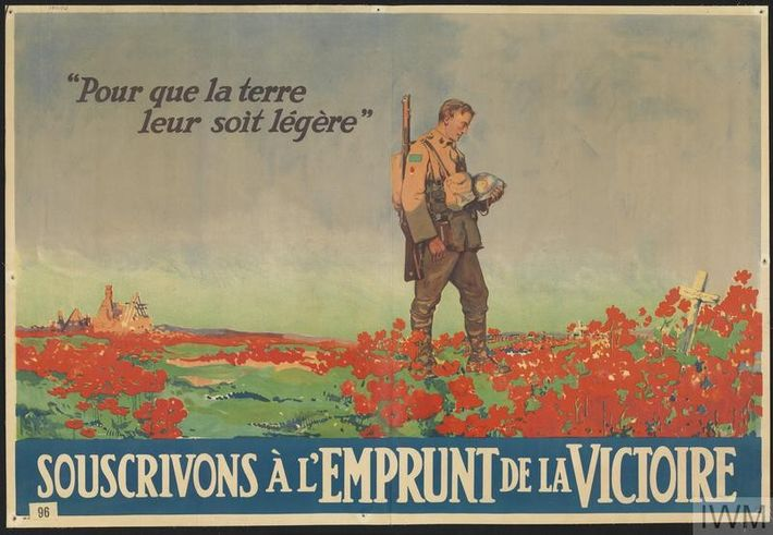 This fundraising poster pictures a Canadian soldier in a field of poppies, his head bowed as ...