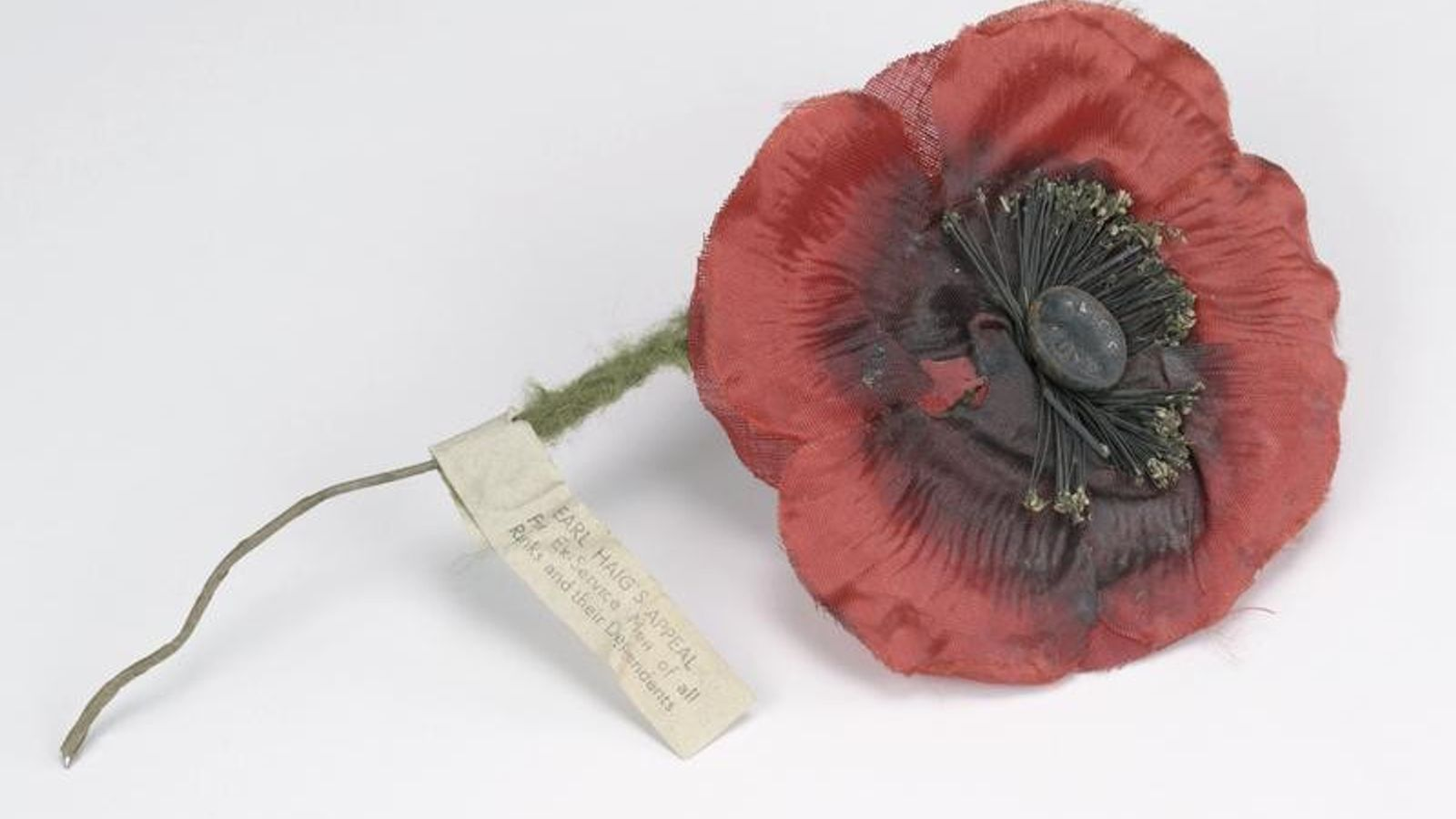 This British 'Remembrance Day' poppy from the interwar period was made of cloth strengthened with wire ...