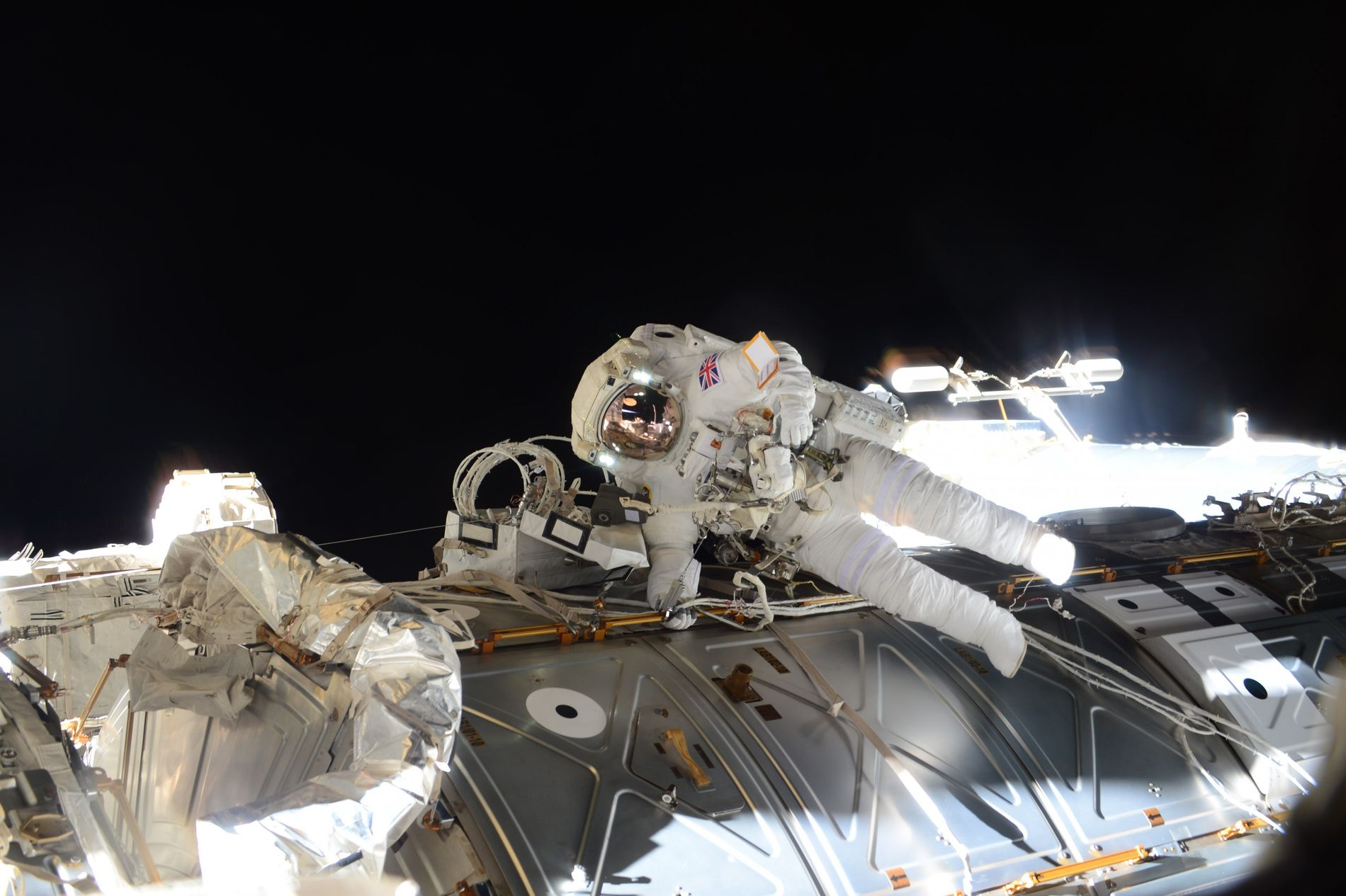 "Astronaut Tim Peake during his spacewalk. ""Today's exhilarating spacewalk will be etched in my memory forever ..."