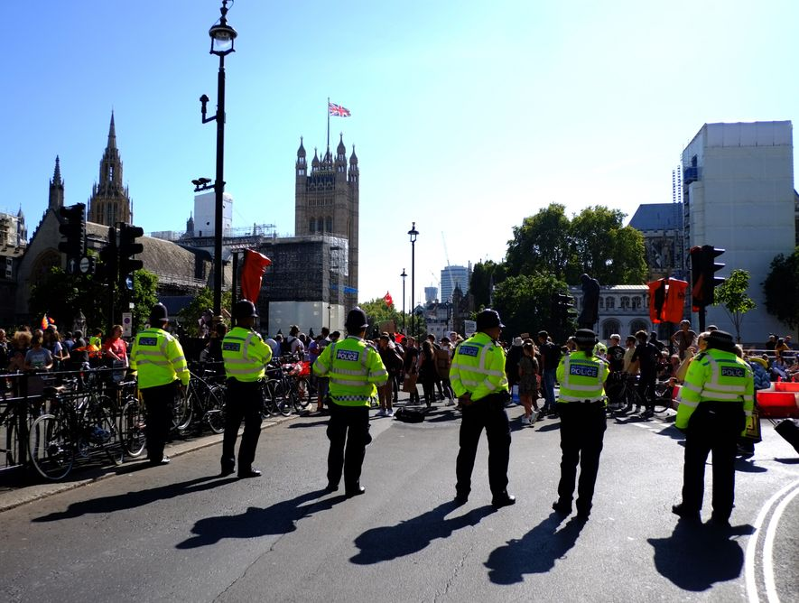 Police monitored the demonstration, which closed roads in central London around the Palace of Westminster and ...