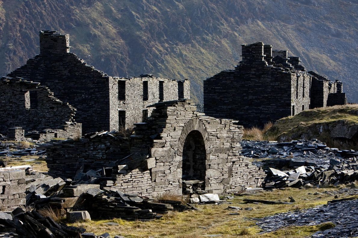 Disused mine barracks at Rhosydd, above Croesor. One of the most remote mines in Snowdonia, its high-tucked, ...