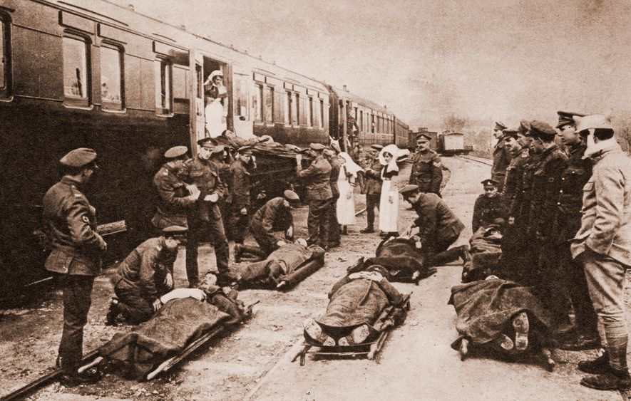 Casualties await transportation back to Britain aboard a train from the Western Front. Some soldiers died in convalescence on home shores, surrounded by family: the vast majority most weren't so lucky.