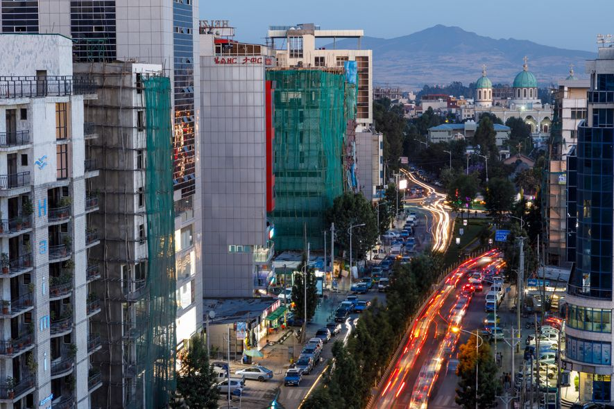 """""""To come to Addis... was simply me getting back to who I was.""""Addis Ababa's modern downtown."""