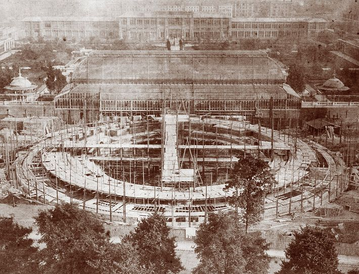The foundations of the Royal Albert Hall take their circular shape in South Kensington in the ...