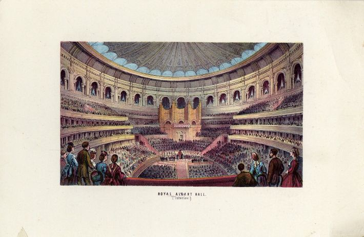 An 1870s illustration of the Royal Albert Hall auditorium and audience. The building was designed to ...