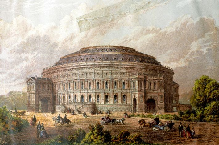 The proposed design of the Royal Albert Hall, as envisioned in the 1860s.