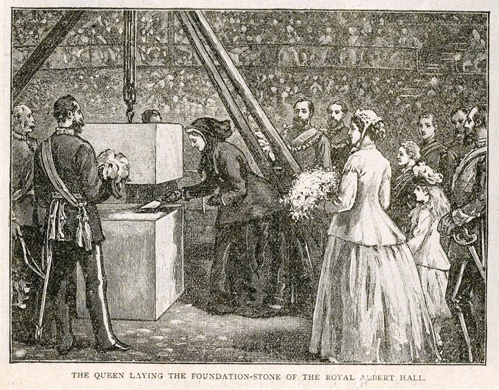 Queen Victoria lays the foundation stone: 20 May 1867. The hall was the brainchild of her ...