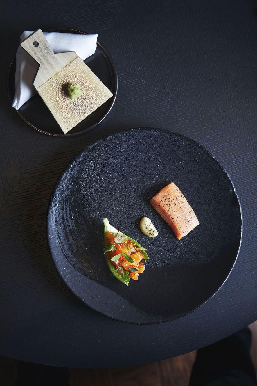 Salmon gravlax with wasabi at Moss Restaurant