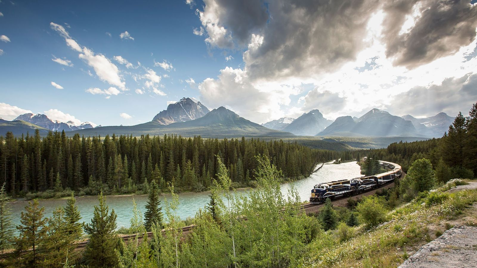 Train crosses Canada's pristine landscape.
