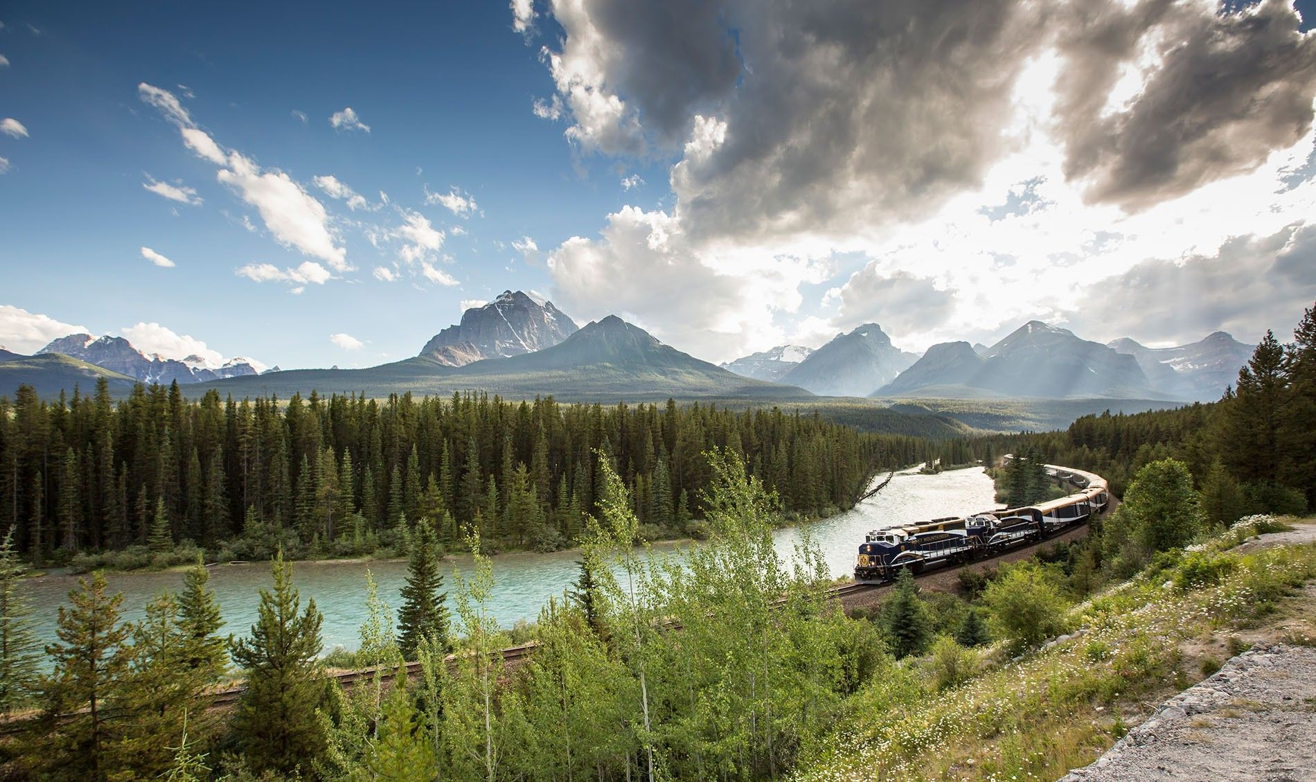 Train crosses Canada's pristine landscape.