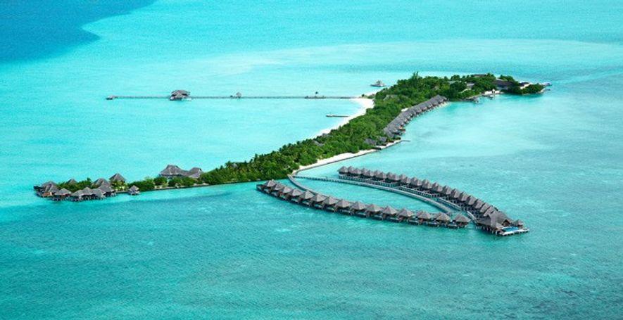Aerial shot of Taj Exotica in the Maldives