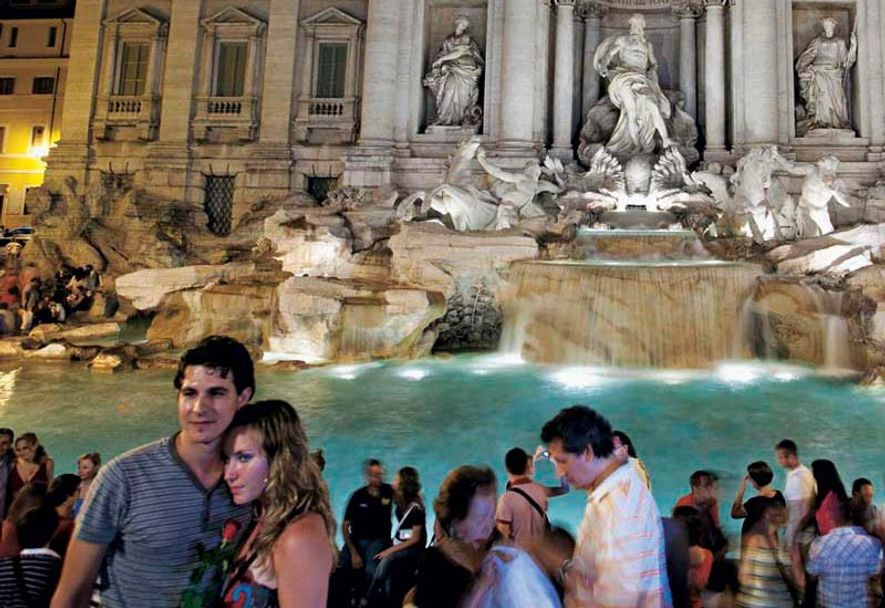 The Trevi Fountain in the evening.