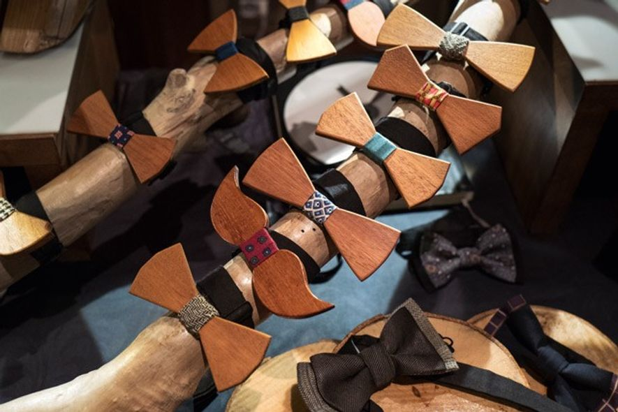 Wooden bow tie stall in Mercato Monti.
