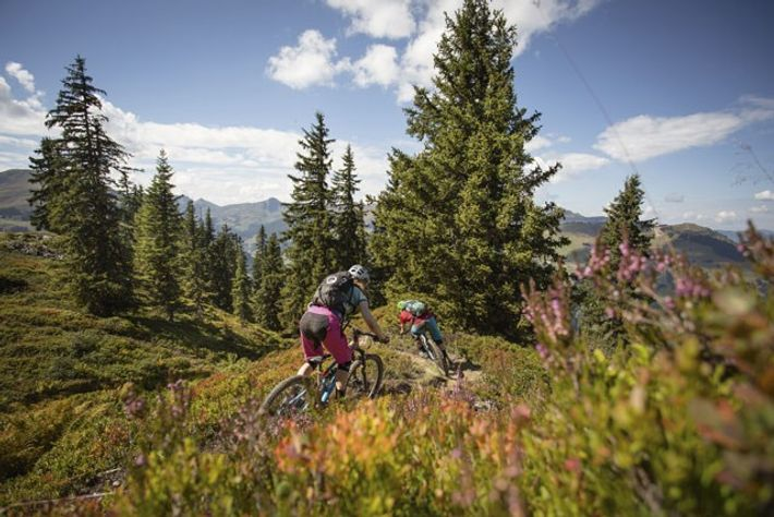 Mountain biking through Saalbach's tough terrain