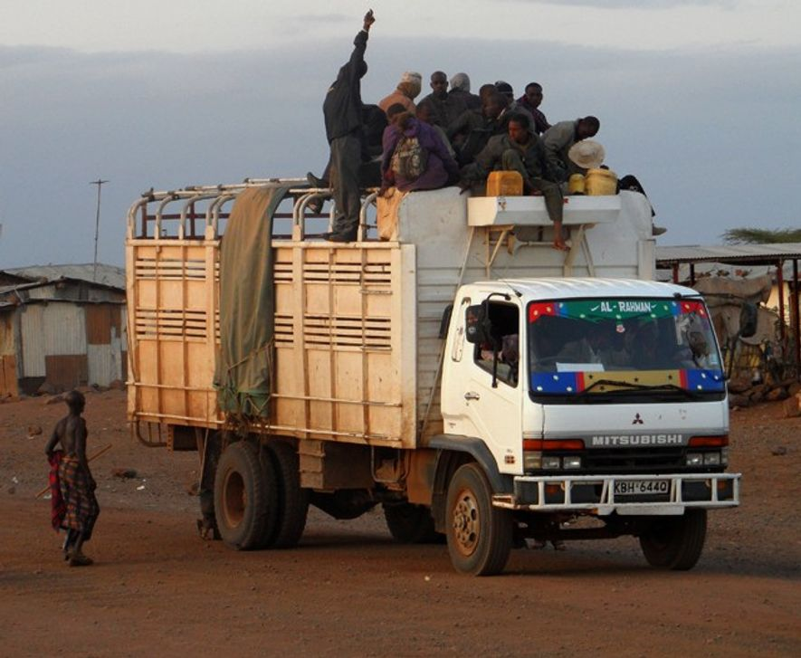 Travelling on top of a truck