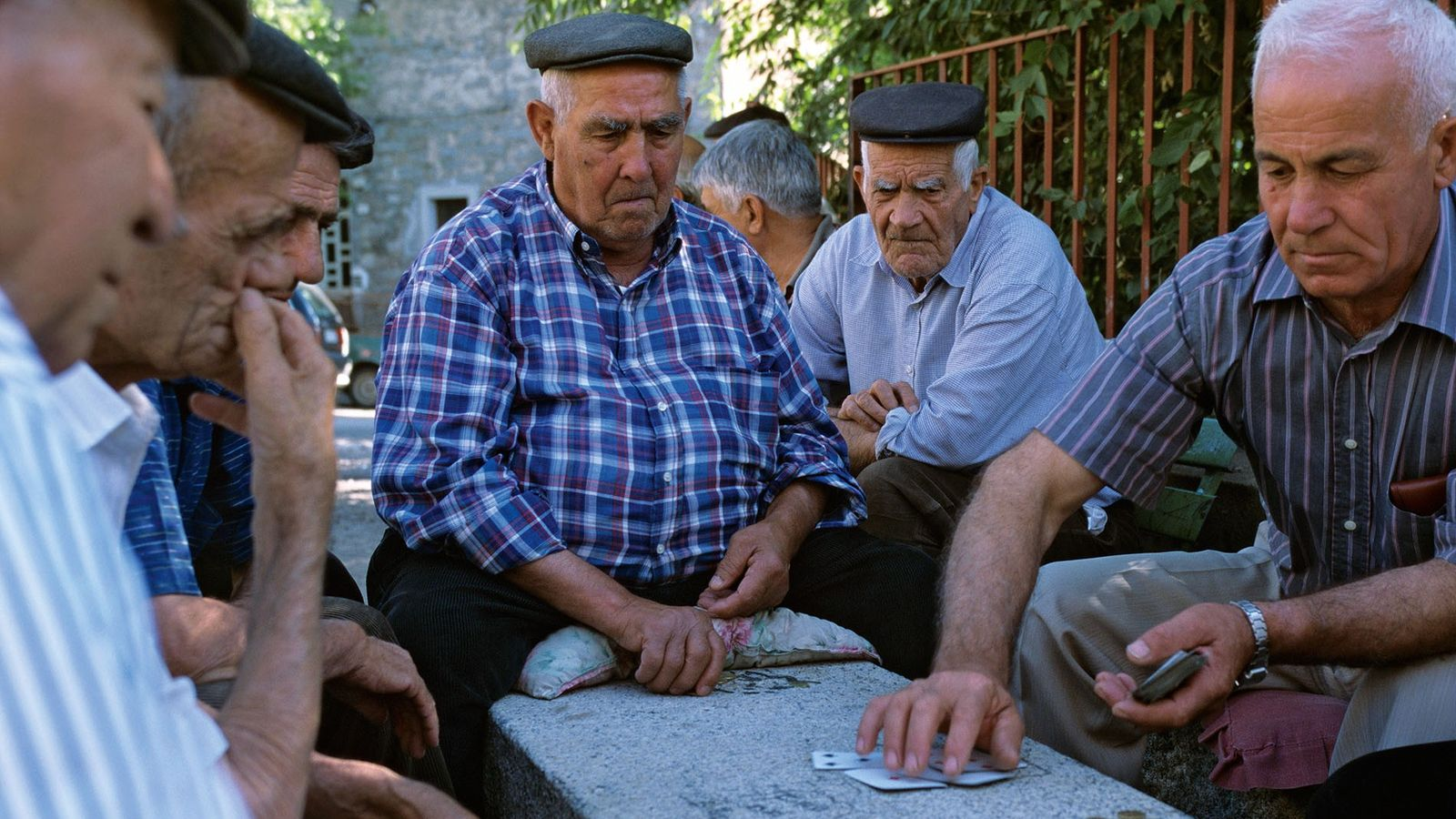 Locals playing cards in Oliena
