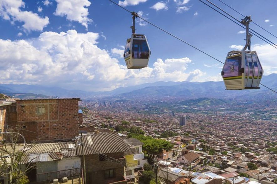 Cable-cars over Medellin.