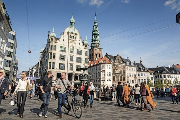 View over Amagertorv at Strøget, the main pedestrian shopping street in Copenhagen