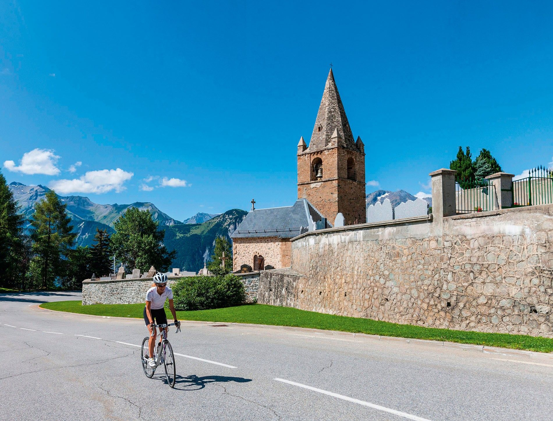 Tackling Alpe d'Huez, France by bike
